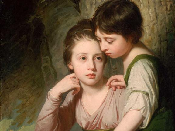 Detail of painting, Portrait of Two Girls (Misses Cumberland), by George Romney