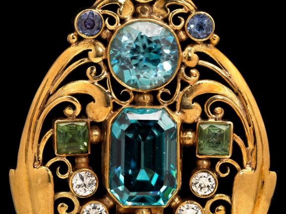 jeweled scroll brooch, made by Frank Gardner Hale