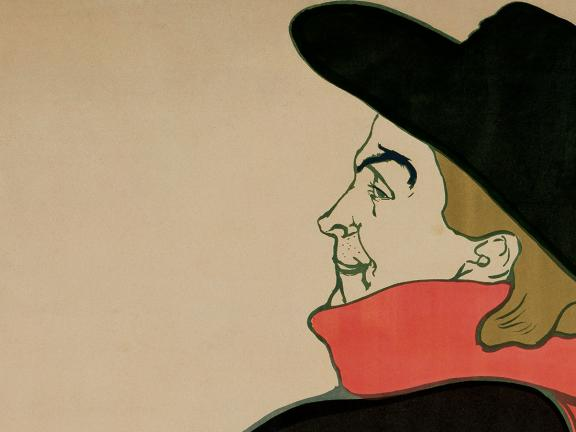 Detail of Toulouse-Lautrec's poster, Aristide Bruant in His Cabaret