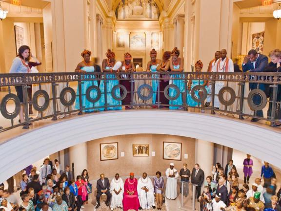 Visitors at Benin Gallery opening reception, in Museum rotunda