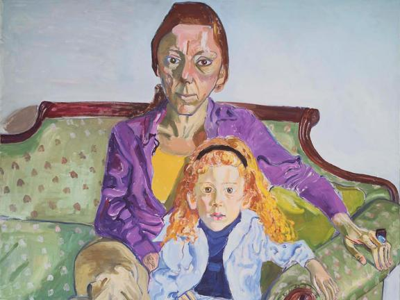 Alice Neel, Linda Nochlin and Daisy (detail), 1973. Oil on canvas.