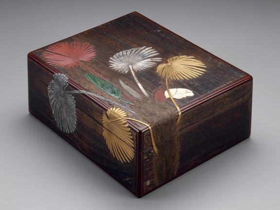 Box for writing paper (ryôshibako) with palmetto design, Japanese