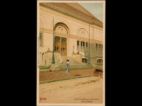Entrance to Museum of Fine Arts, St. Louis, English, about 1903.