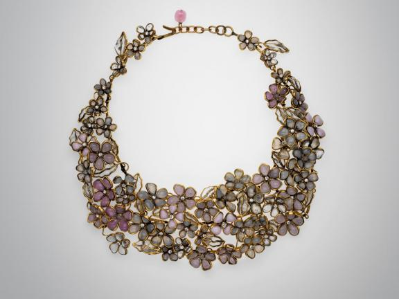 Poured glass floral bib necklace, Maison Gripoix, 20th century. Glass, gold colored metal, quartz crystal.