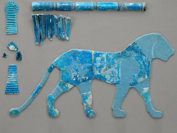 Detail of wall inlays of lion made of faience.