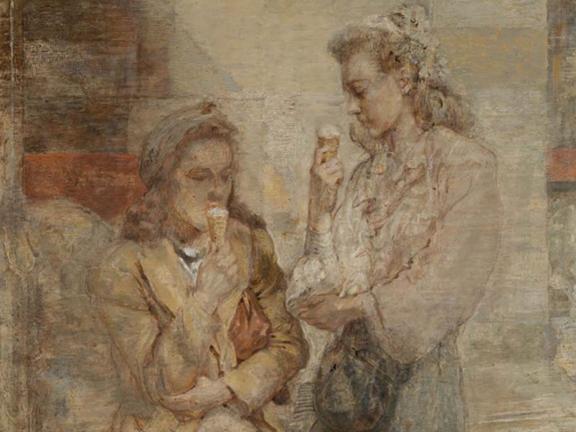Painting of two figures enjoying ice cream.