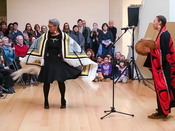 Evelyn Vanderhoop Curators Circle event in Linde Family Wing, people dancing