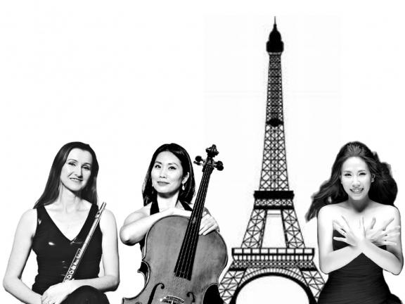 CK ensemble stands in front of image of Eiffel Tower