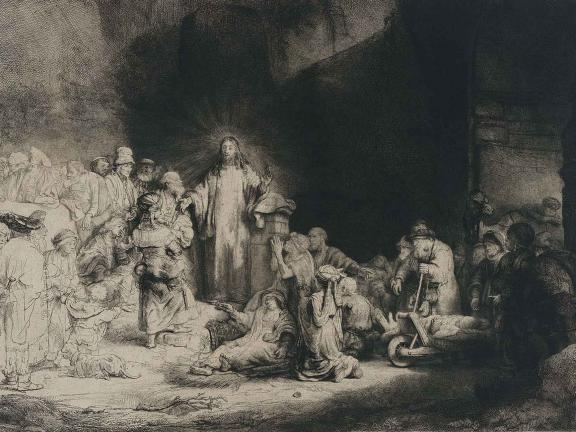 Etching of Christ preaching.