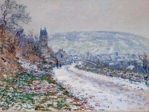 Entrance to the Village of Vétheuil in Winter, Claude Monet