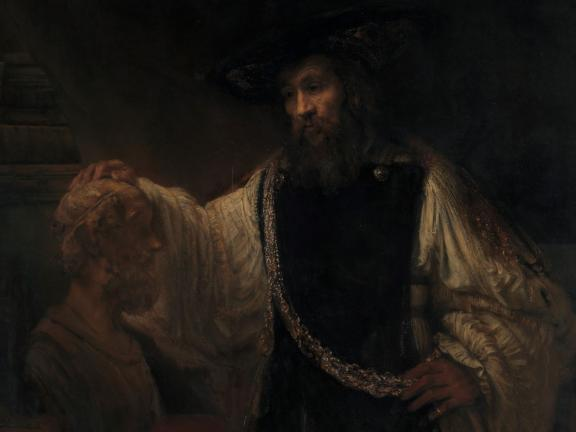 Painting of Aristotle holding a bust of Homer.
