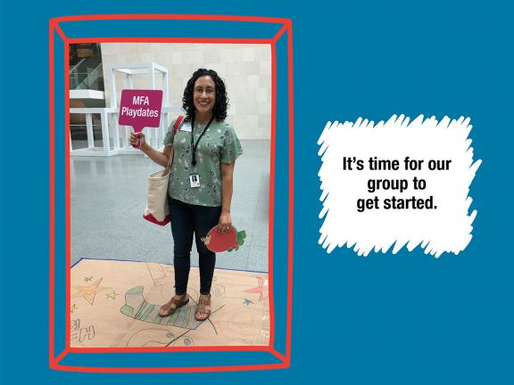 """""""It's time for our group to get started."""" with photograph of guide standing and holding sign"""