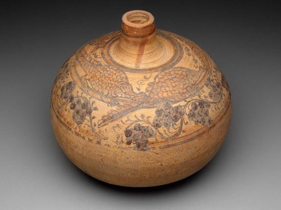 Decorated spheroid jar, Nubian, Meroitic Period, 2nd Century A.D. Pottery.