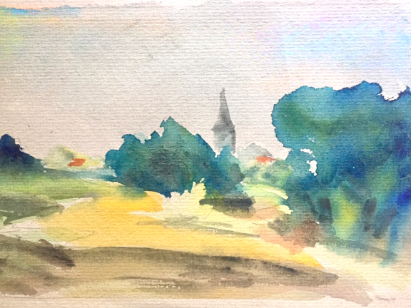 watercolor painting of landscape