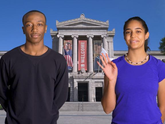 Still from Your Visit to the MFA video, featuring two teens with Museum facade in background