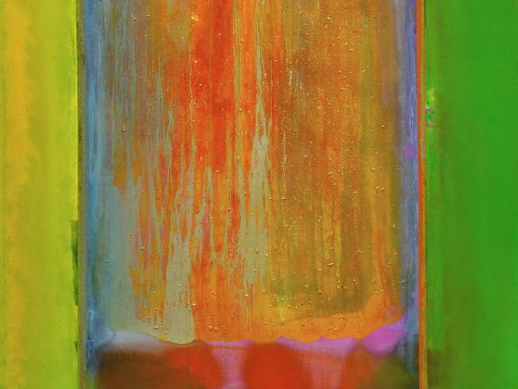 Detail of acrylic painting, Suncrush (full with gradient), by Frank Bowling