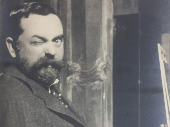 Detail of photograph of John Singer Sargent winking