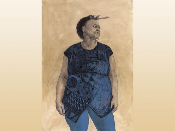 Drawing of a women in conté, charcoal, and pastel coffee wash on cotton paper by Robert Pruitt titled Cut Piece