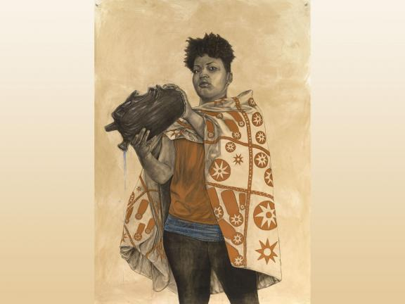 Drawing of a women in conté, charcoal, and pastel coffee wash on cotton paper by Robert Pruitt titled Birth and Rebirth and Rebirth