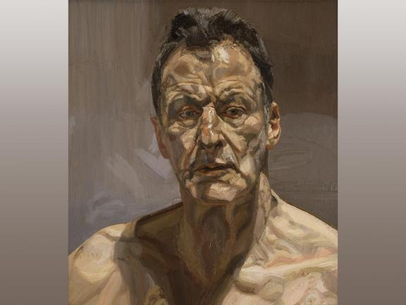 Oil painting of an middle aged man titled Reflection (Self-Portrait) by Lucian Freud