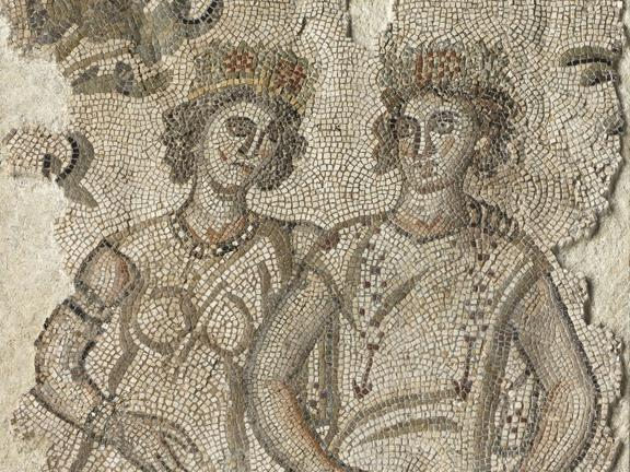 Detail of Byzantine mosaic depicting two figures said to be the personfication of Pleasure and Wealth