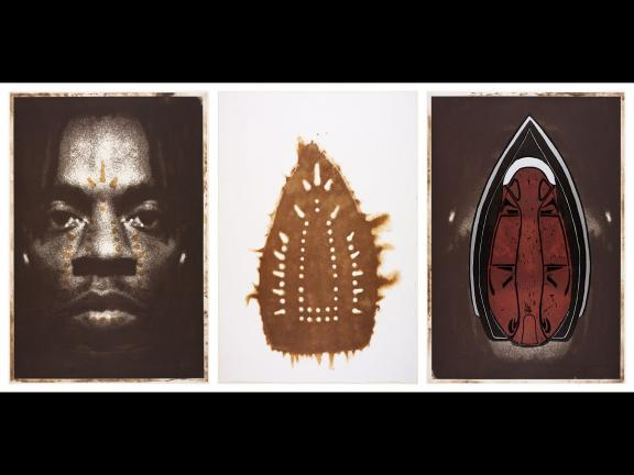 Triptych by Willie Cole featuring a self-portrait, and burn mark from an iron, and a mask. Printed in brown, with embossing and hand coloring.