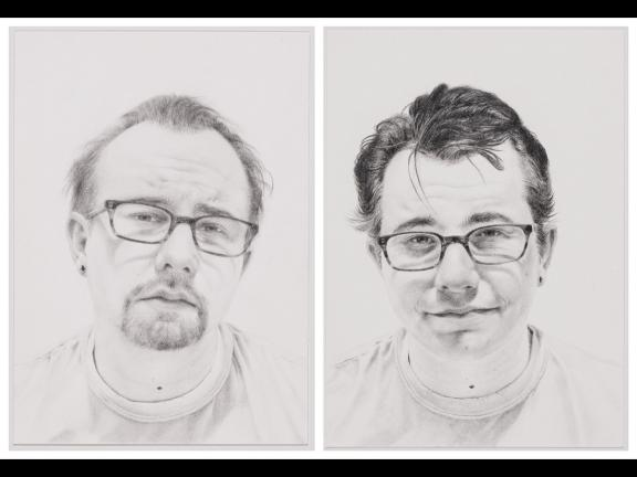 Two portraits of the artist at various staging of balding, drawn in graphite on paper