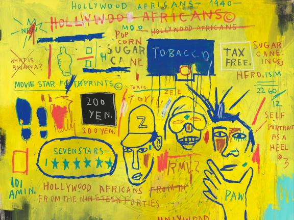 yellow and blue painting inspired by graffiti by Jean-Michel Basquiat made with acrylic and oil paintstick on canvas