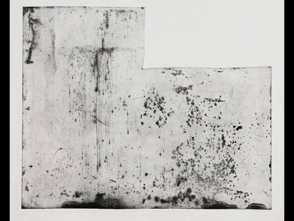 Louis Meola, Found Plate #1, 2019. Intaglio print with photo lithography.