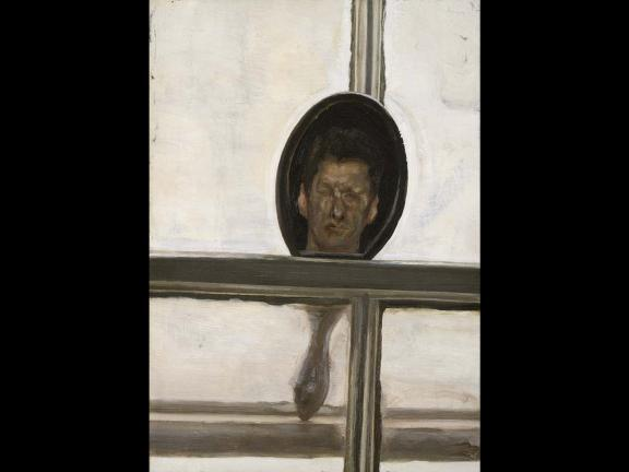 image of Interior with Hand Mirror (Self-Portrait) by Lucian Freud