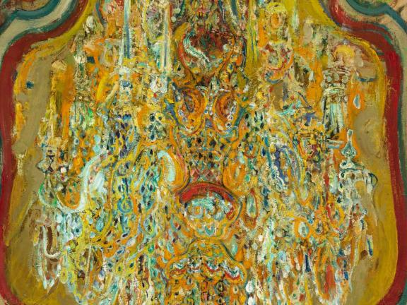 detailed image of Chandelier painting by Hyman Bloom