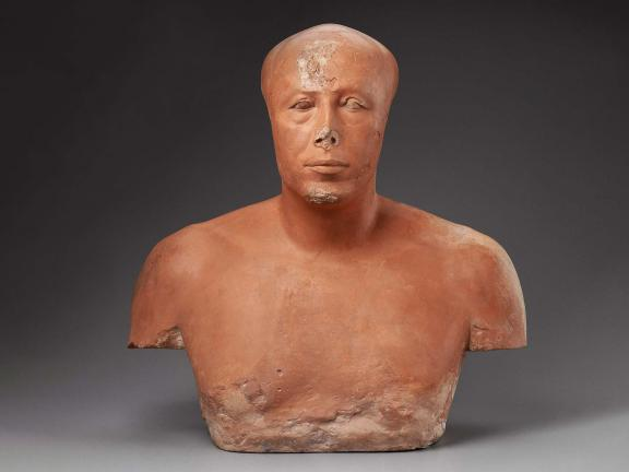 Bust made of painted limestone