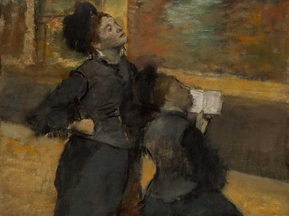 Degas painting depicting two women looking at art in gallery