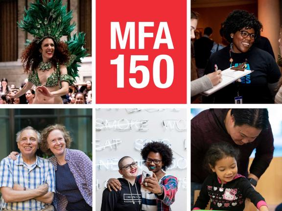 grid of images of happy people with MFA 150 graphic element