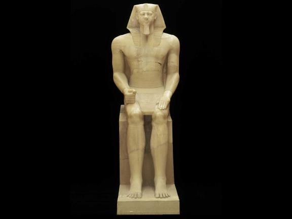 Colossal statue of King Menkaura (Mycerinus), Egyptian, Old Kingdom, Dynasty 4, reign of Menkaura, 2490–2472 B.C.