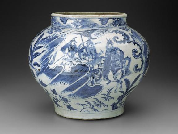 wine jar with blue paintings of a popular drama