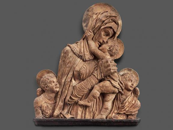 Terracotta relief depicting the Virgin and child with two angels