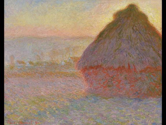 impressionist painting of haystack at sunset