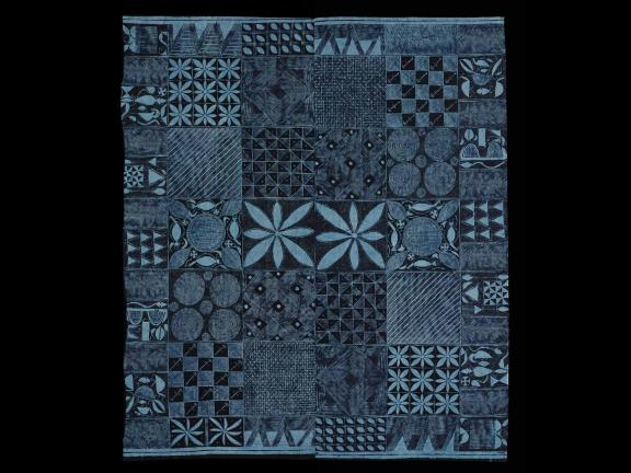 womens wrapper with blue geometric pattern