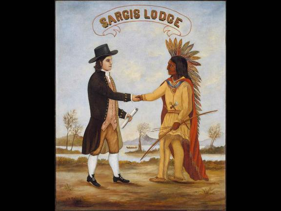 image of the painting, Emblem of Sargis Lodge by Charles Sidney Raleigh