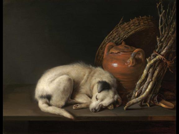 painting of a white dog asleep next to a red jar