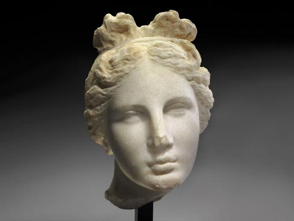 white marble sculpture of the head of Aphrodite