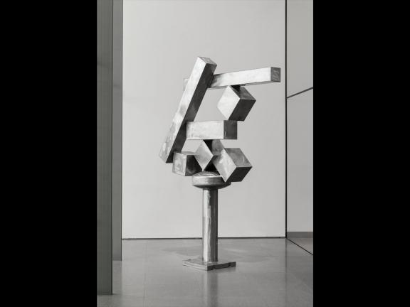 polished stainless steel cubist sculpture