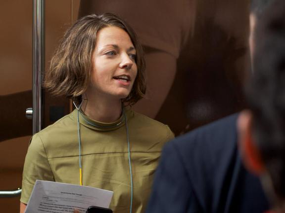 Curator Liz Munsell leading a Spotlight Talk