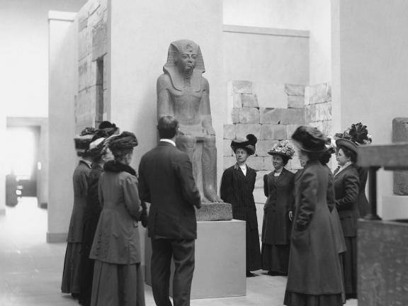 image of photograph showing Museum visitors in the Egyptian galleries, 1910
