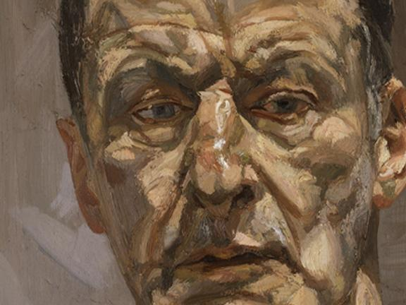 Detail of Lucian Freud's self-portrait painting, Reflection (Self-portrait)