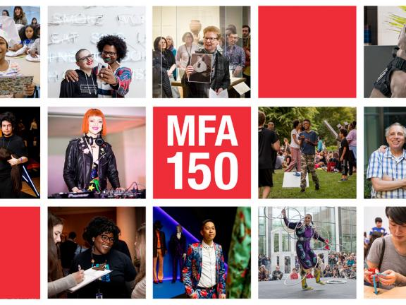 MFA 150 graphic, in grid of images featuring various visitors, staff, and performers in the Museum