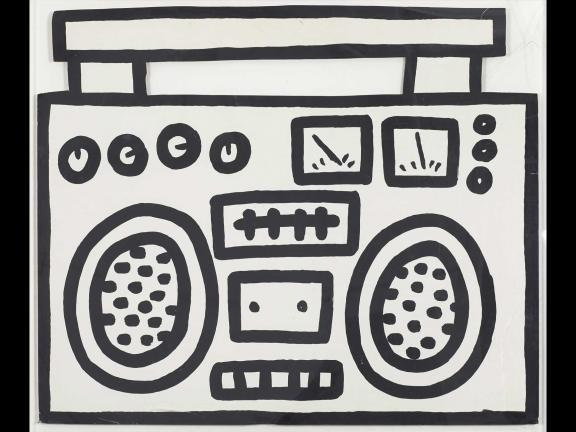 black spray painting of an outline of a boom box