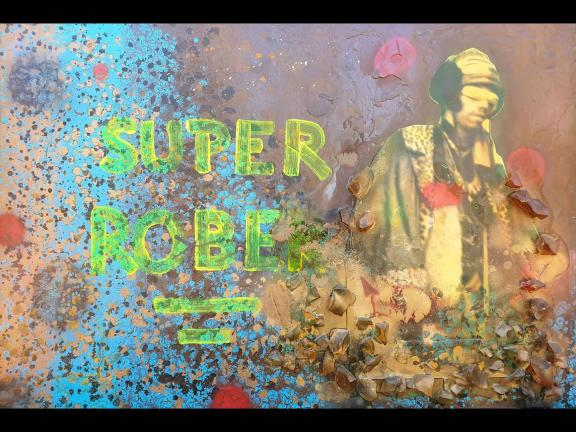 """spray painting with """"super robber"""" text"""