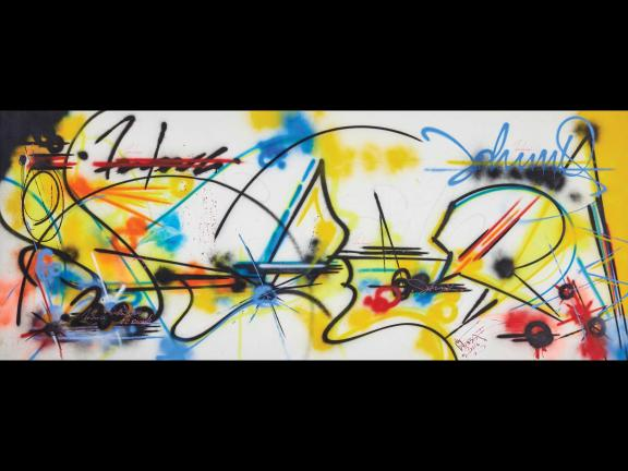 spray painting with red, yellow, and blue abstract marks